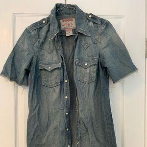 Frayed Jean shirt